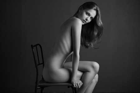 Sexy portrait of nude woman. Naked sensual beautiful girl. Artistic  photo.
