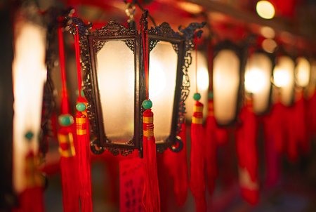 mo: Hong Kong - November 19, 2015: Interior lanterns of Man Mo Temple. Close up picture.