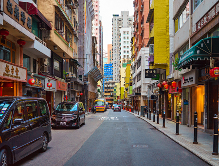 Hollywood Road, Hong Kong - November 19, 2015: Historic Hollywood Road is the first road built in British Colonial era in 1841