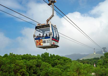 lantau: Hong Kong, China - November 20, 2015: Ngong Ping 360 Cable Car. Its away to Ngong Pin village, famous touristic place in Hong Kong