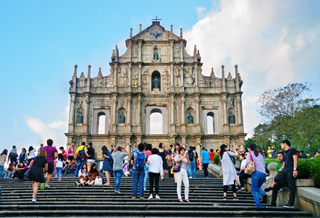 saint pauls cathedral: Macau - November 20, 2015: Ruins Of Saint Pauls Cathedral. Built from 1582 to 1602 by the Jesuits. Was destroyed by a fire during a typhoon in 1835.