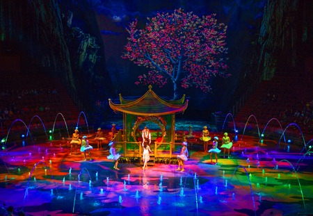Macau - November 20, 2015: The House of Dancing Water is a truly unique show. Following five years of development, two years of rehearsal, and with production investment running at over USD250 million, this incredible production has become the iconic ente Editöryel