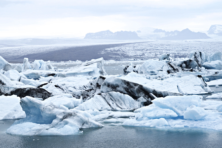 literally: Jokulsarlon (literally glacial river lagoon) is a large glacial lake in southeast Iceland Stock Photo