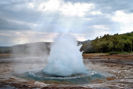 geothermal: Geysir Strokkur. Haukadalur Geothermal Area. Iceland Stock Photo