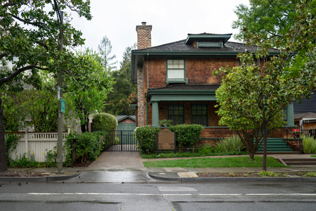 Palo Alto, CA, USA - March, 2016: The birthplace of Silicon Valley, the garage where Hewlett-Packard was founded is now a museum listed on the National Register of Historic Places.