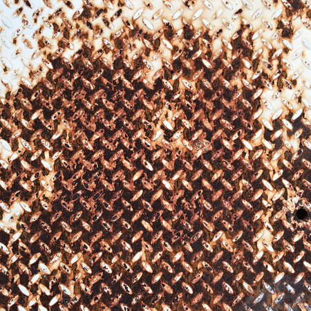oxidate: Texture of fluted rusty metal plate Stock Photo