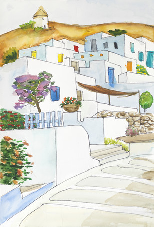 Watercolor drawing and painting of grecce village