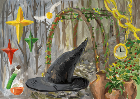 Watercolor collage with witch hat Stock Photo