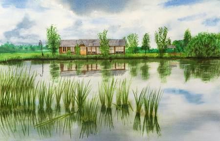 Hand-drawn illustration of house by the pond Stock Photo