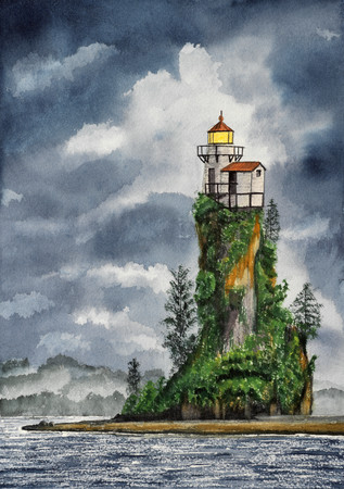 Hsndmade watercolor illustration of lighthouse Stock Photo