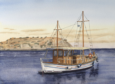 Dibujo de acuarela hecha a mano de barco turístico