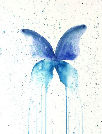 Watercolor painting of butterfly. Handmade 写真素材