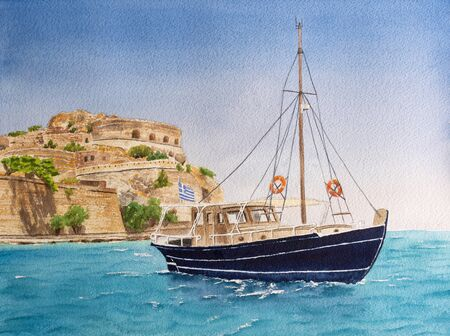 Handmade watercolor drawing of touristic boat