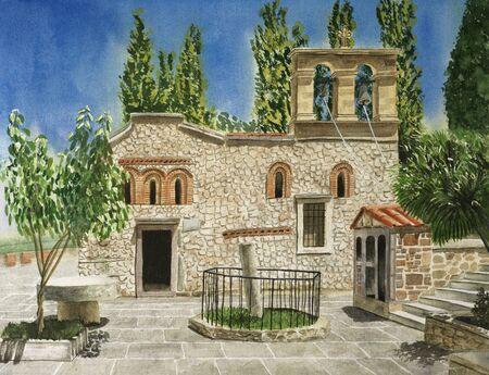 Ancient Monastery Kera Kardiotissa in the mountains of Crete. Greece