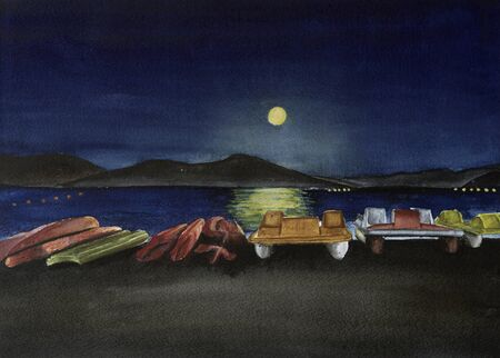 Touristic Boats in the Moon Night Stok Fotoğraf - 131719029