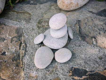 The figure of man from sea pebbles