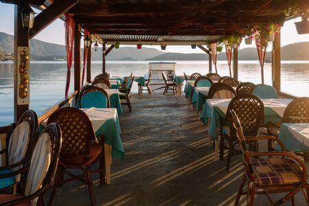 Traditional tavern on the water in Elounda Stok Fotoğraf
