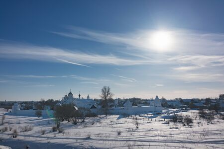 Holy Protection Convent in Suzdal. Pokrovsky womens monastery in winter. Stok Fotoğraf