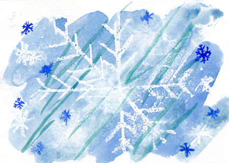 Watercolor drawings of snowflake. Winter background