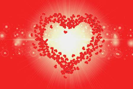 valentine          s day candy: Red heart valentine background blur bokeh effect light