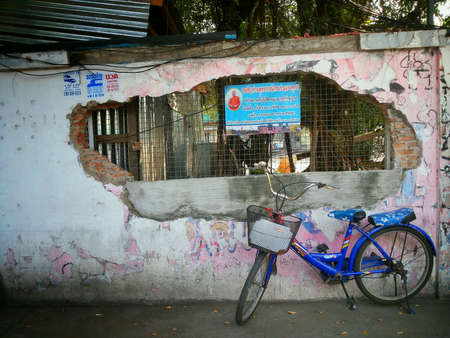 grunge: Grunge temple wall art with bicycle background