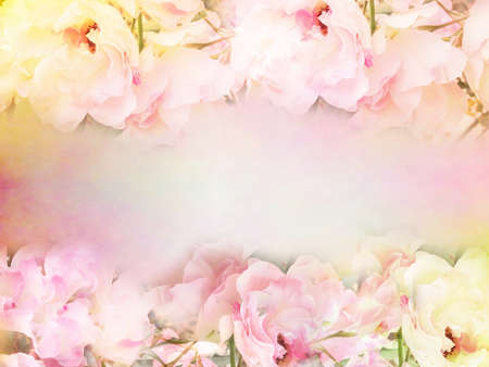 Frontera rosada de las rosas de la flor y el marco en el color de la vendimia para el fondo de San Valentín y tarjeta de boda