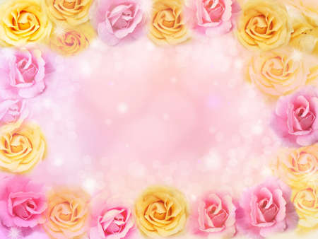 beautiful pink and yellow roses flower border and frame background for valentine