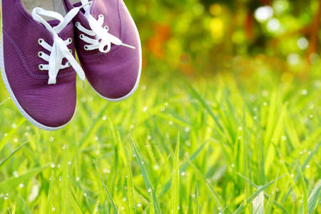 purple shoes: purple shoes hanging on nature green grass in the morning, travel and holiday concept and idea background Stock Photo