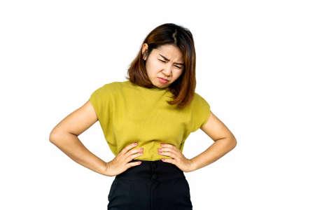 Asian woman suffering from stomach ache, heartburn Stockfoto