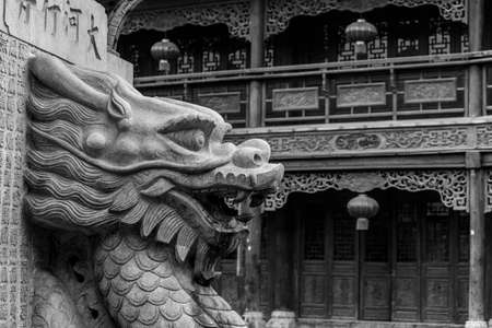 stone carving: Chinese stone carving art Editorial