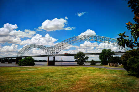 Hernando de Soto Bridge into Memphis, TN Stock Photo