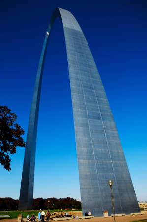 Gateway Arch towers over visitors near its base