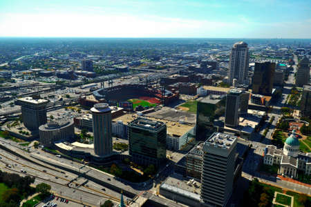 Aerial view of downtown St  Louis, MO from the top of the Arch Editorial