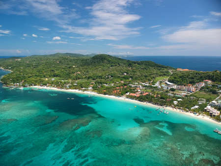 Aerial View Of Coral Reef And Beach On Caribbean Island