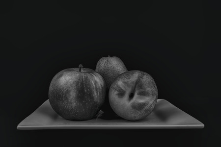 mixed fruit: mixed fruit done in black and white