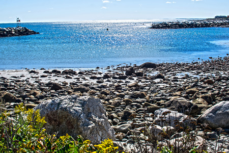 seascapes: aview of the rocky coastline of new hampshire.