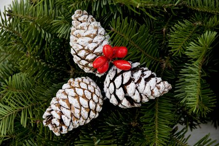 decorative pine cones on a wreaths