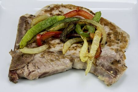 pork chop with onions and peppers
