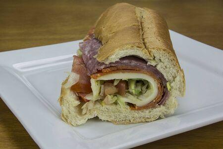 salami and pastrami sandwich Stock Photo
