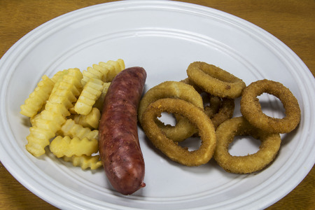 sausage fries and onion rings,