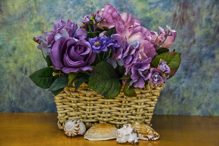 sea shells with assorted flowers