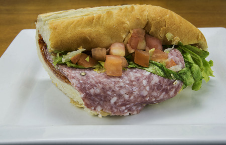 pastrami sub on a white plate Stock Photo