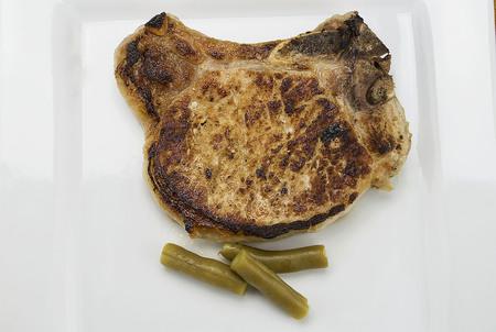 pork chop with green beans, Banco de Imagens