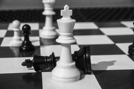 chess board  with piecesdone in black and white