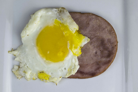 egg on  top of a slice of ham.