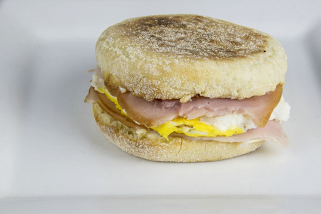 ham and egg between english muffins.