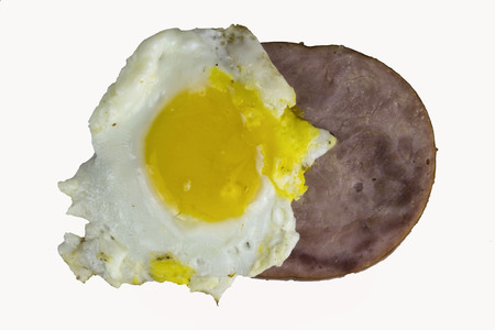 ham and egg on a white back ground