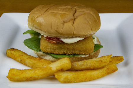 fish sandwich with  french fries, Stock Photo