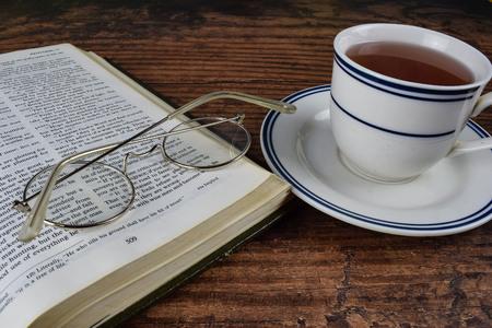 a book with green tea
