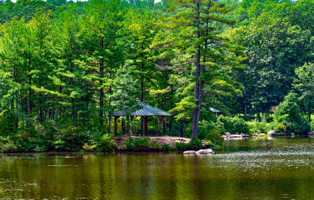 a pavilion by the pond at barrett park in leominster massachusetts